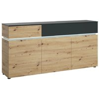 Product photograph showing Luci Platinum And Oak 3 Door Sideboard With Led Light