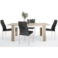 Product photograph showing Lyon Large Extending Dining Table And 4 Milan Black Chairs - Riviera Oak And High Gloss White