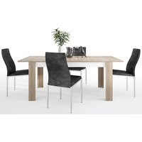 Product photograph showing Lyon Large Extending Dining Table And 6 Milan Black Chairs - Riviera Oak And High Gloss White