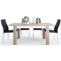 Product photograph showing Lyon Medium Extending Dining Table And 6 Milan Black Chairs - Riviera Oak And High Gloss White