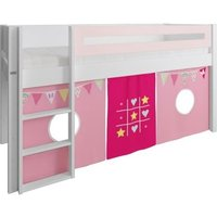 Product photograph showing Manis-h White Mid Sleeper Bed With Safety Rail In Light Rose And Bunting Play Curtain