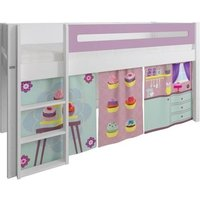Product photograph showing Manis-h White Mid Sleeper Bed With Safety Rail In Dusty Rose And Cup Cake Play Curtain