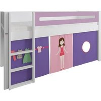 Product photograph showing Manis-h White Mid Sleeper Bed With Safety Rail In Dusty Rose And Dress Up Doll Play Curtain