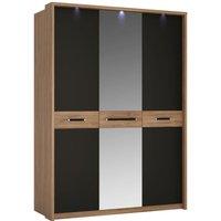 Product photograph showing Monaco 3 Door With Mirror Wardrobe - Oak And Matt Black
