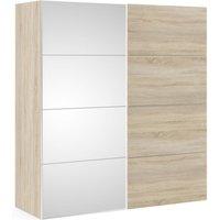 Product photograph showing Verona 2 Door 5 Shelves Sliding Wardrobe W 180cm - Oak With Oak And Mirror