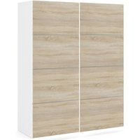 Product photograph showing Verona 2 Door 5 Shelves Sliding Wardrobe W 120cm - White And Oak