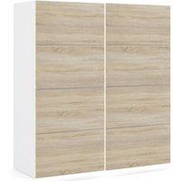 Product photograph showing Verona 2 Door 5 Shelves Sliding Wardrobe W 180cm - White With Oak