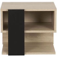 Product photograph showing Gami Duplex Reversible Bedside Cabinet - Natural Chestnut And Black Foil