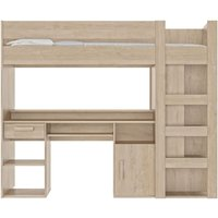 Product photograph showing Gami Montana Blond Oak Mezzanine High Sleeper Bed