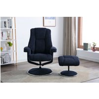 Product photograph showing Gfa Denver Swivel Recliner Chair With Footstool - Midnight Blue Fabric
