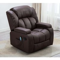 Product photograph showing Gfa Dorchester Swivel Recliner Chair - Brown Faux Leather