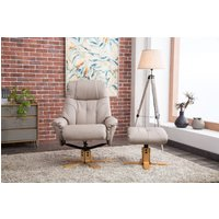 Product photograph showing Gfa Dubai Swivel Recliner Chair With Footstool - Pebble Plush Fabric