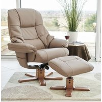 Product photograph showing Gfa Greenwich Swivel Recliner Chair With Footstool - Earth Fabric