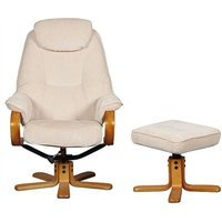 Product photograph showing Gfa Hong Kong Swivel Recliner And Footstool - Beige Fabric