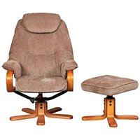 Product photograph showing Gfa Hong Kong Swivel Recliner And Footstool - Mink Fabric