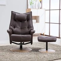 Product photograph showing Gfa Palmera Swivel Recliner Chair With Footstool - Brown Fabric