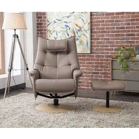 Product photograph showing Gfa Palmera Swivel Recliner Chair With Footstool - Earth Fabric