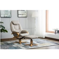 Product photograph showing Gfa Pisa Swivel Recliner Chair With Footstool - Pebble Plush Fabric