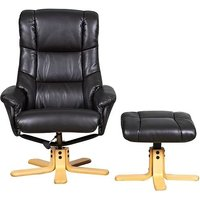 Product photograph showing Gfa Shanghai Swivel Recliner Chair With Footstool - Black Fabric
