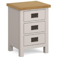 Product photograph showing Global Home Devon Large Bedside Cabinet - Oak And Soft Cotton Painted