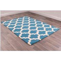 New Art Classico Blue Ivory Geometric Wool Rug