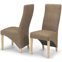 Product photograph showing Ariton Brown Tweed Fabric Dining Chair Pair