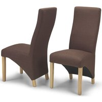 Product photograph showing Ariton Dark Brown Fabric Dining Chair Pair