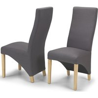 Product photograph showing Ariton Grey Fabric Dining Chair Pair