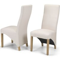 Product photograph showing Ariton Ivory Fabric Dining Chair Pair