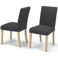 Product photograph showing Elida Dark Grey Linen Fabric Dining Chair Pair