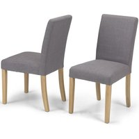 Product photograph showing Elida Grey Linen Fabric Dining Chair Pair
