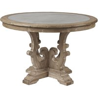 Product photograph showing Asbury Reclaimed Pine Zinc Top Round Dining Table