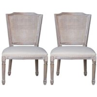 Product photograph showing Asbury Whitewashed Fabric Dining Chair Pair