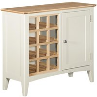 Product photograph showing Lowell Wine Cabinet - Oak And White Painted