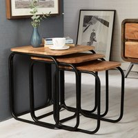 Product photograph showing Indian Hub Aspen Iron And Wood Nest Of Tables