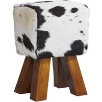 Product photograph showing Indian Hub Cowhide Dark Leather Stool