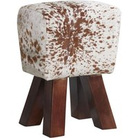 Product photograph showing Indian Hub Cowhide Natural Leather Stool