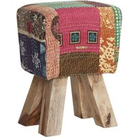 Product photograph showing Indian Hub Multi Colour Fabric Stool