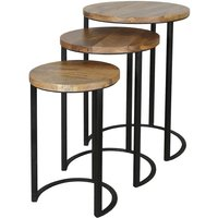 Product photograph showing Jaipur Ravi Solid Wood Top Round Stool With Iron Base Set Of 3