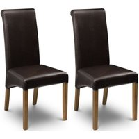 Product photograph showing Julian Bowen Cuba Brown Faux Leather Dining Chair Pair