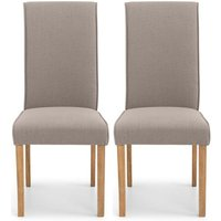 Product photograph showing Julian Bowen Seville Taupe Linen Fabric Dining Chair Pair