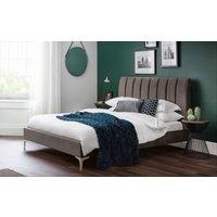 Product photograph showing Julian Bowen Deco Grey Velvet Bed