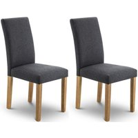 Product photograph showing Julian Bowen Hastings Oak And Slate Linen Fabric Dining Chair Pair