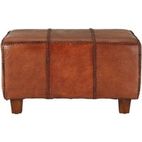 Product photograph showing Adelaide Genuine Antique Brown Leather Bench