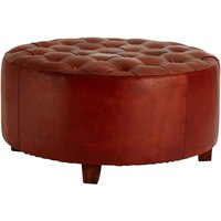 Product photograph showing Adelaide Genuine Antique Brown Leather Buttoned Stool