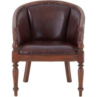 Product photograph showing Adelaide Genuine Antique Brown Leather Carved Chair
