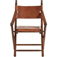 Product photograph showing Adelaide Genuine Brown Leather Folding Chair