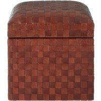 Product photograph showing Adelaide Genuine Brown Leather Storage Stool