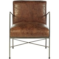 Product photograph showing Bexley Genuine Brown Leather Dining Chair