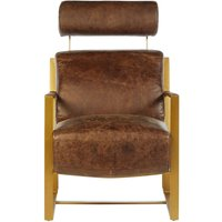 Product photograph showing Bexley Genuine Brown Leather Lounge Chair